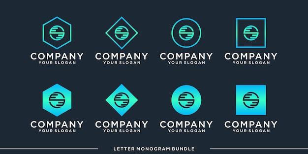 Set monogram e logo design template
