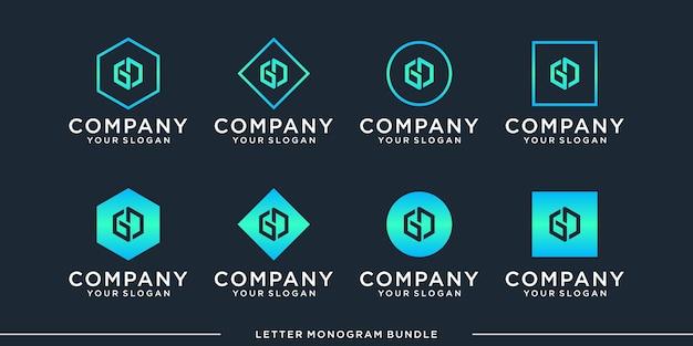 モノグラムgロゴデザインテンプレートを設定します