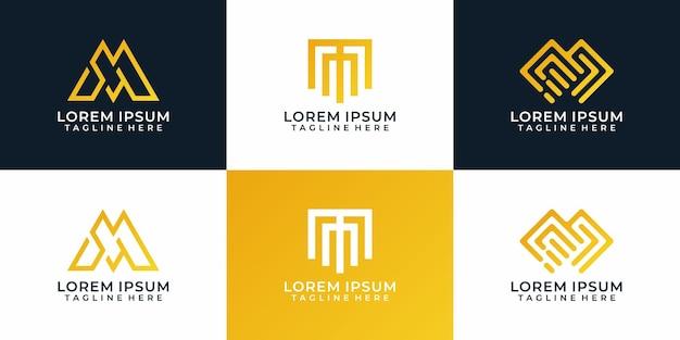 Set of monogram geometric initial letter m logo design for branding