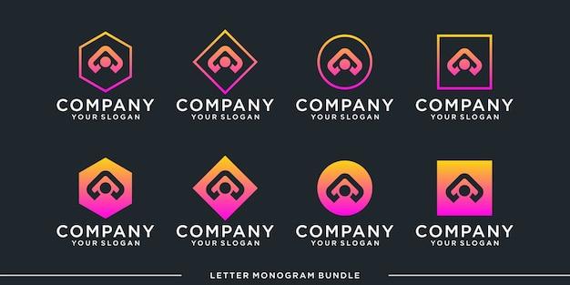 モノグラムアイコンの初期ロゴデザインテンプレートを設定します