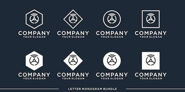 モノグラムアイコンの初期ロゴデザインテンプレートを設定します Premiumベクター