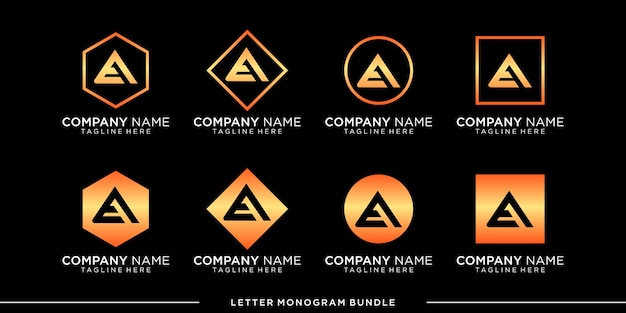 モノグラムアイコンの初期ロゴデザインテンプレートを設定し、