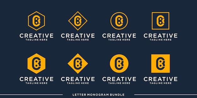 모노그램 아이콘 초기 b 로고 디자인 서식 파일 설정