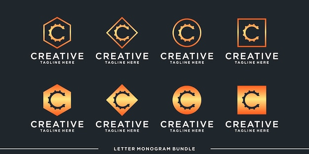 Set monogram icon initial c logo design template