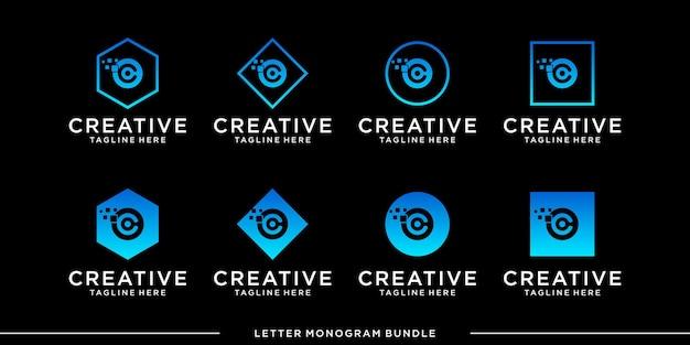 モノグラムアイコンの初期cロゴデザインテンプレートを設定します