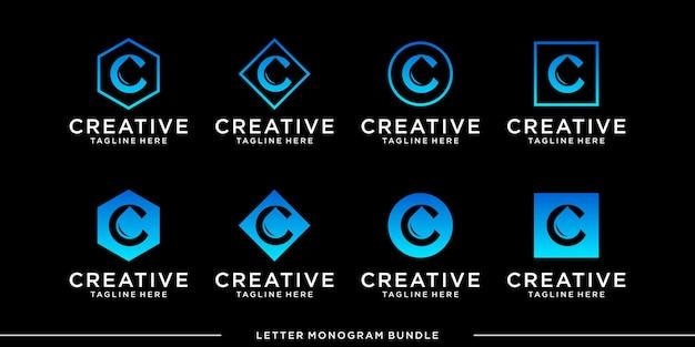 モノグラムアイコンの初期cロゴデザインテンプレートを設定します Premiumベクター