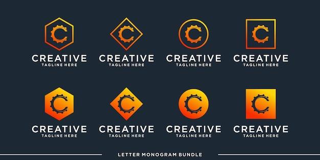 モノグラムアイコンの初期cロゴデザインテンプレートを設定し、