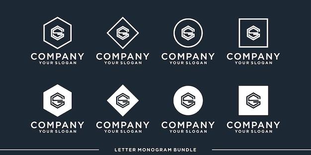 モノグラムアイコンの初期gロゴデザインテンプレートを設定します Premiumベクター