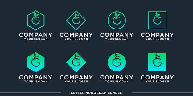 Set monogram icon initial g logo design template