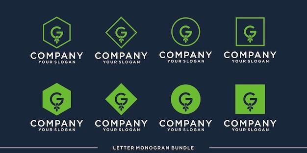 모노그램 아이콘 초기 g 로고 디자인 서식 파일 설정