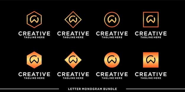 Set monogram icon initial a logo design template