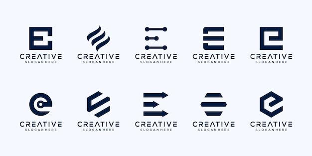 모노그램 초기 문자 e 로고 디자인 설정