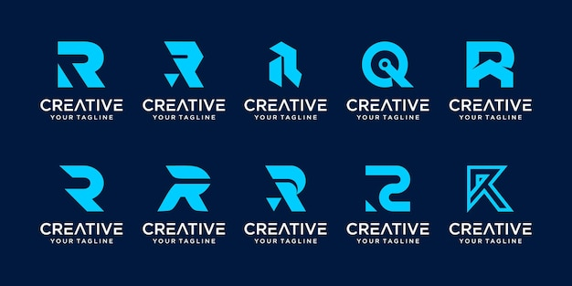 Set of monogram initial letter r rr logo template icons for business of fashion business digital