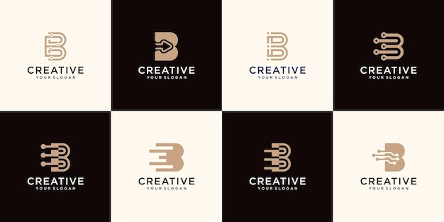 Set of monogram letter b logo template