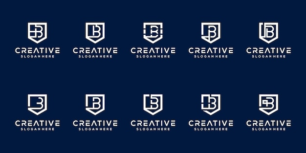Set of monogram letter b logo template