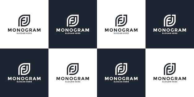 Set of monogram letter f j logo design initial alphabet