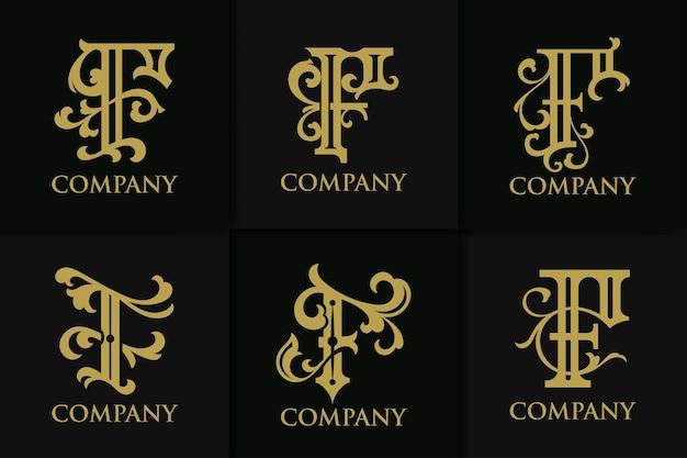 Set monogram letter f vintage collection