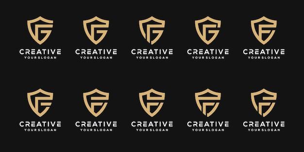 Set monogram letter f with shield logo design