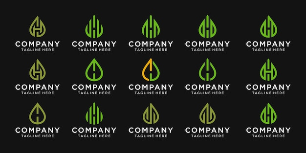 Set of monogram letter h with oil and leaf vector logo design for business