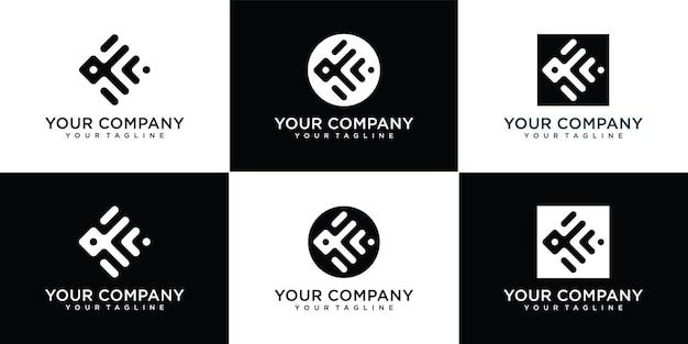 Set monogram letter k logo