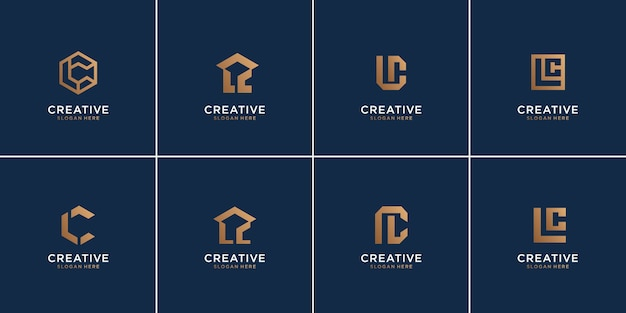 Set of monogram letter l and letter c combination,luxury,icon,template,abstract.