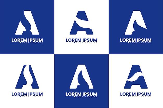 Set of monogram letter a logo design initial a letter alphabet logo template