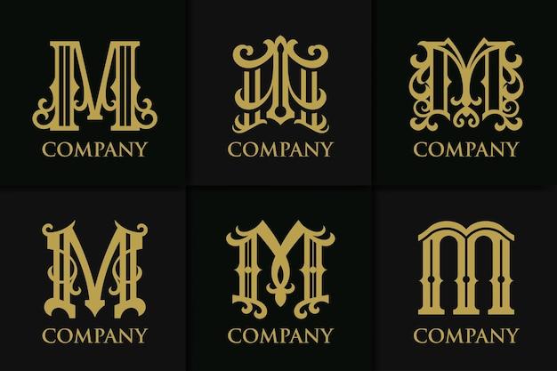 Установить монограмму буква m винтажная коллекция