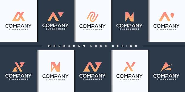 Установить монограмму буква n логотип шаблон