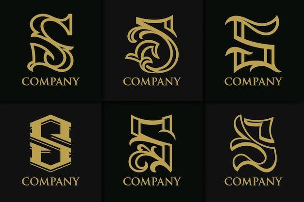 Set monogram letter s vintage collection