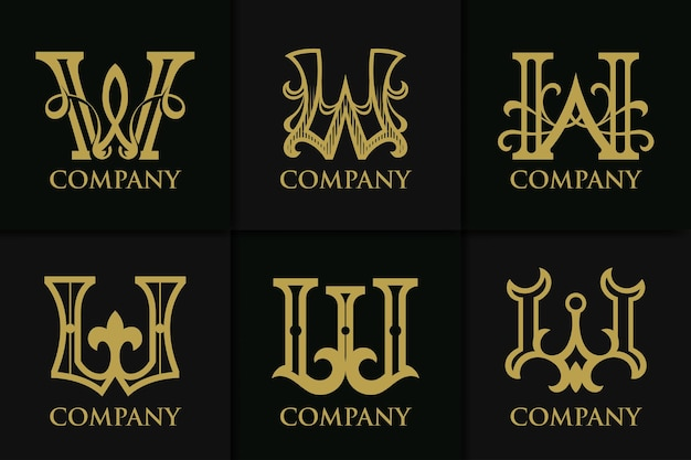 Set monogram letter w vintage collection