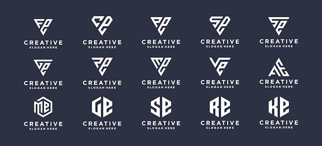 パーソナルブランド、企業、会社のモノグラムレターマークロゴデザインを設定します。