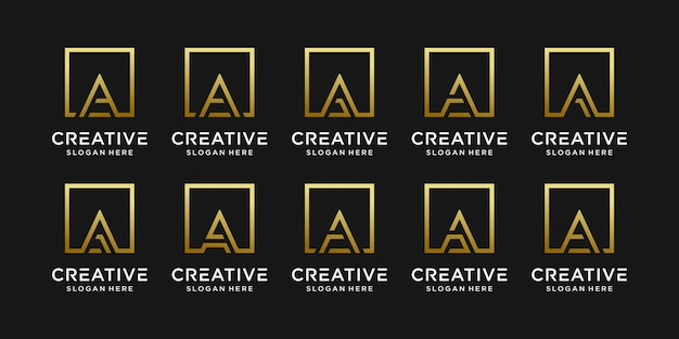 Set of monogram logo design initial letter a with linear style and square concept