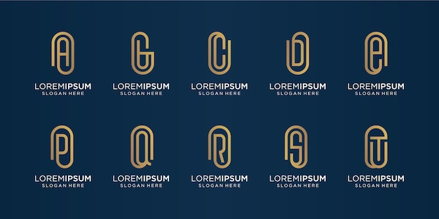 Set of monogram logo design inspiration.logo for icons business,luxury,literal.