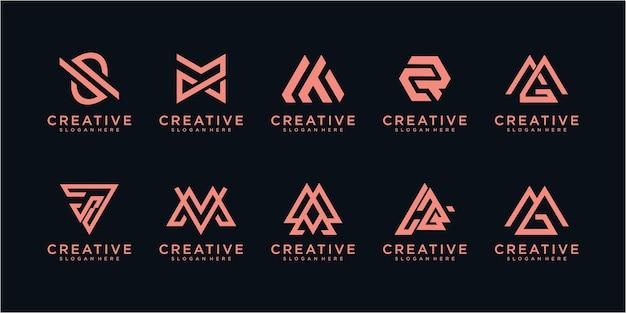 Set of monogram logo design inspiration. monogram logo design template. monogram logo collection