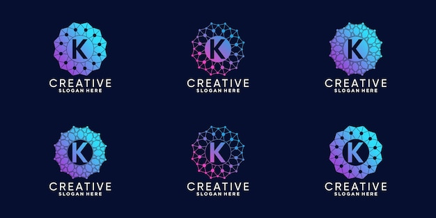 Set of monogram logo design for technology initial letter k with line art and dot style