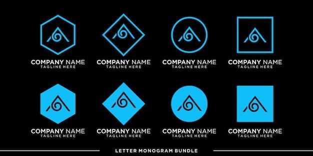 Set monogram a logo design template
