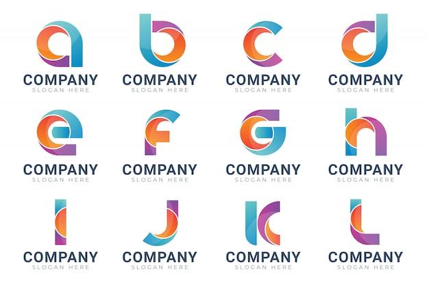 Set of monogram logo design template