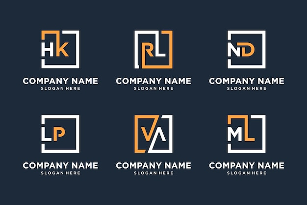 Set of monogram logo elegant business symbol collection, icon, symbol, initial letter, square for you company