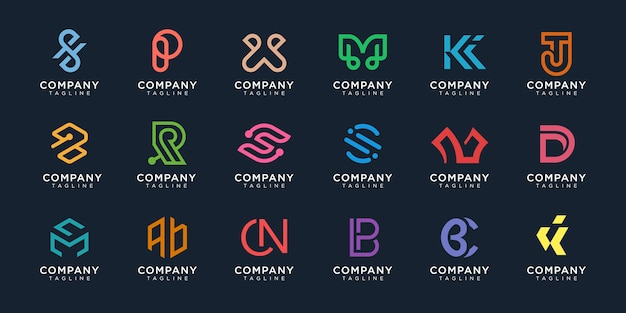 Set of monogram logo premium vector