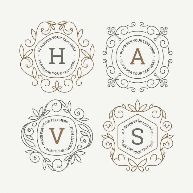 Set of monogram logo templates