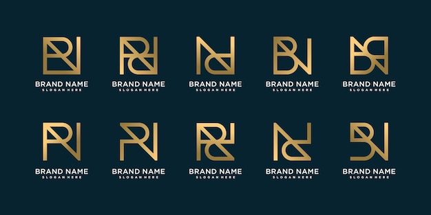 Set of monogram logo with unique letter style combinations premium vector