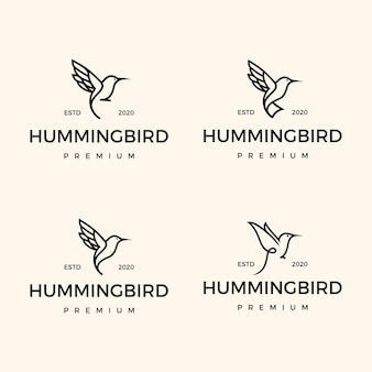 Set monoline hummingbird logo design