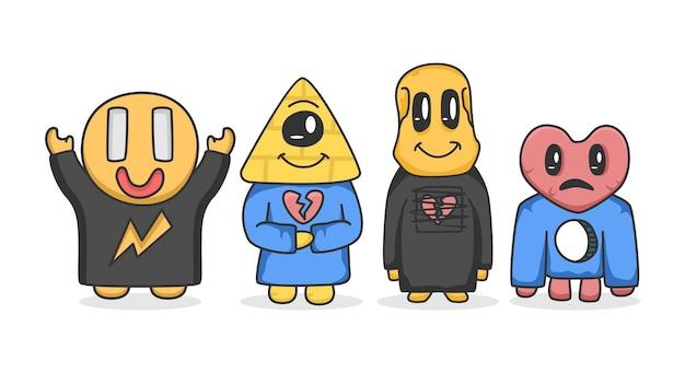 Set of monster character cartoon illustration flat design concept vector