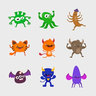 Set of monster character design. cute monster collection