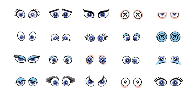 Set of monster eyes in different poses. angry and scared, cunning and plaintive. collection elements isolated on the white background.