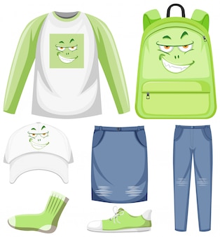 Set of monster facial expression clothes mock up