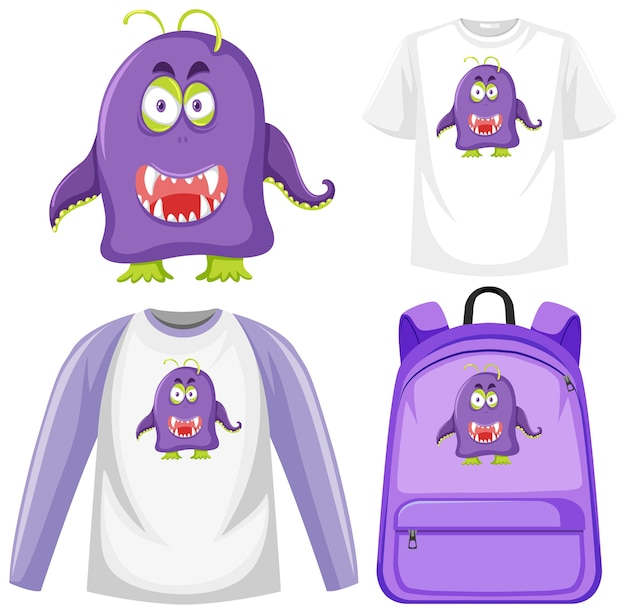 Set of monster facial expression clothes