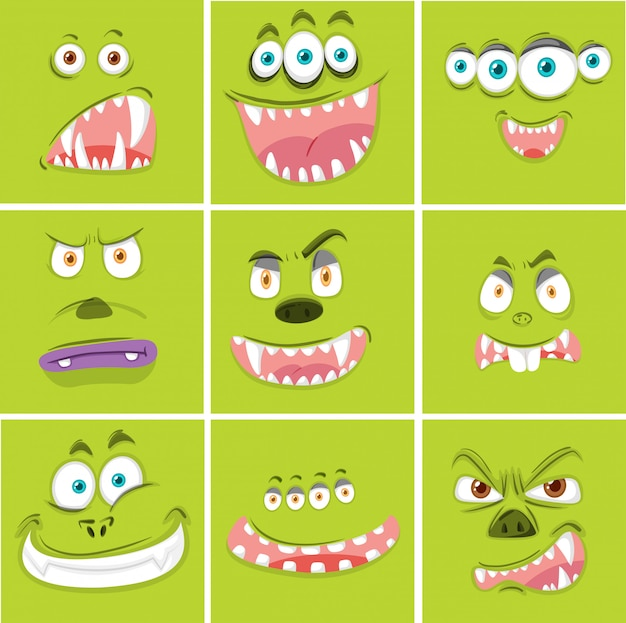 Set of monster facial expression