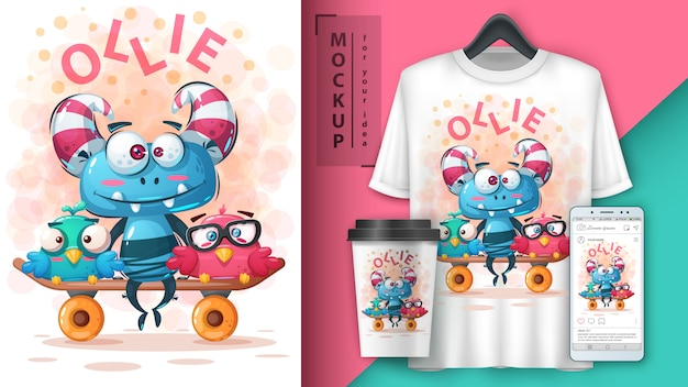 Set monster friends illustration and merchandising