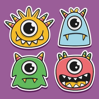 Set of monsters cartoon doodle character